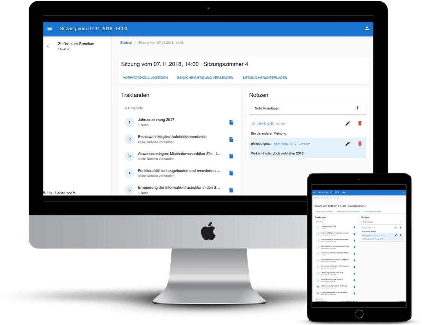 Die Sitzungsapp erlaubt den mobilen Zugriff auf und die Arbeit mit den Sitzungsunterlagen