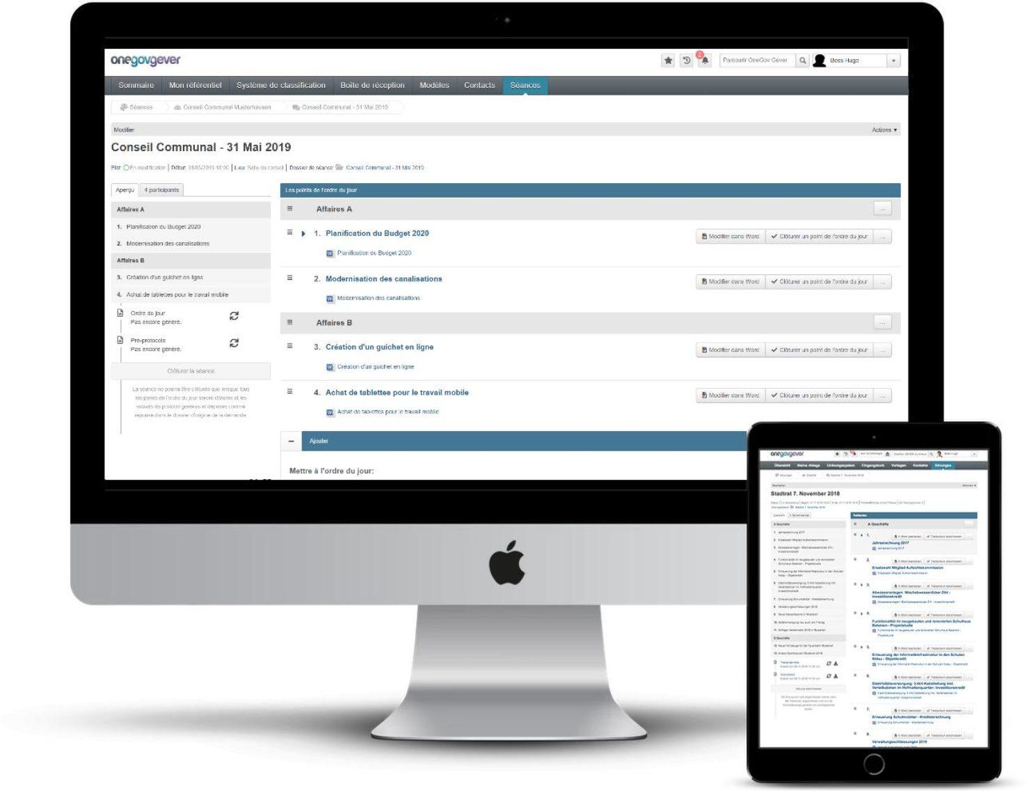 La Gestion de séances et procès-verbaux permet la préparation et la gestion en ligne des documents de séance