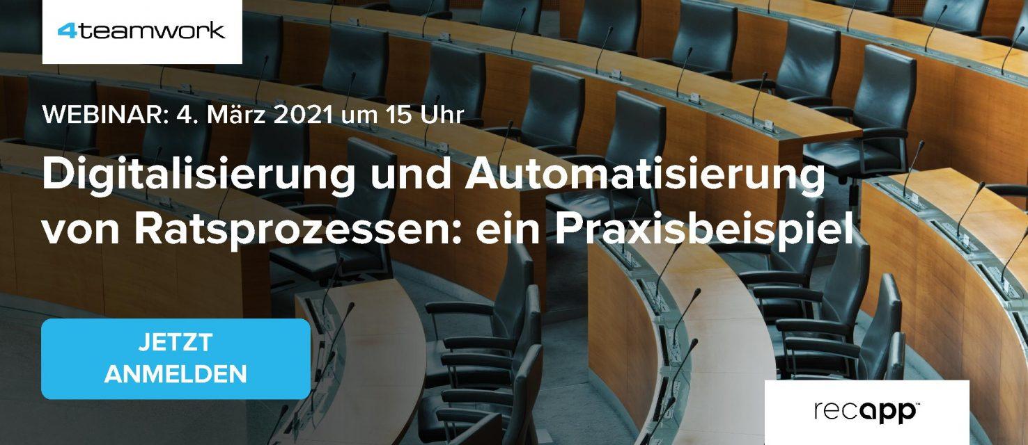 Webinar Digitalisierung und Automatisierung von Ratsprozessen